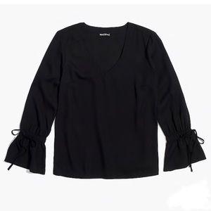 JCrew Black Bell Sleeve Top Size 4